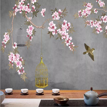 Flowers and birds background wall vintage flowers wallpaper murals home decoration custom photo