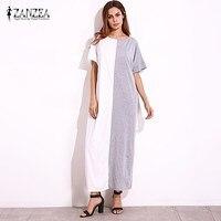 2017 ZANZEA Women Short Sleeve Oversized Batwing Splice Long Shirt Dress Summer Party Long Maxi Dress