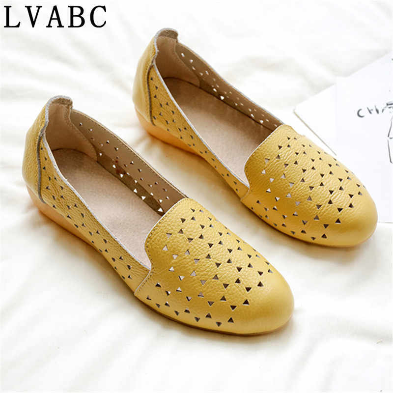 2019 Spring women flats shoes women genuine leather shoes woman cutout loafers slip on ballet flats ballerines flats41