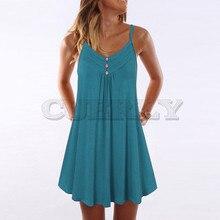 Cuerly Women Sleeveless Summer Dress Spaghetti Strap Double Breasted Plain Shift Fashion dresses woman party night vestidos 2019