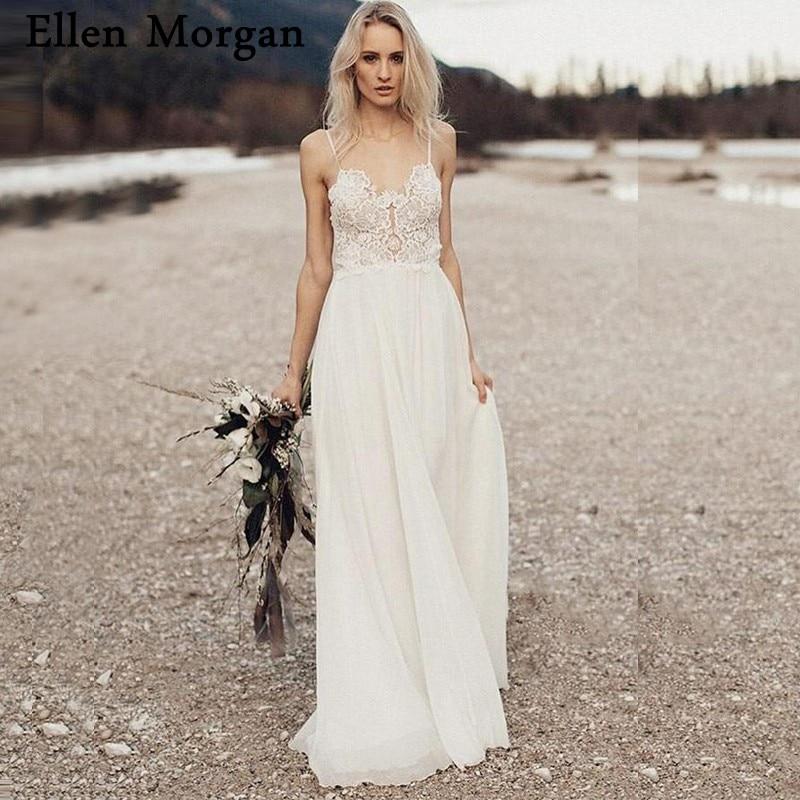 Backless Bohemia Boho Lace Wedding Dresses 2019 Cheap
