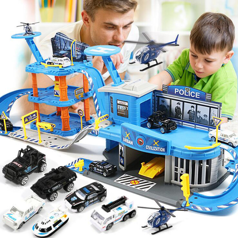 New track puzzle large parking lot toy police engineering fire truck gift toys