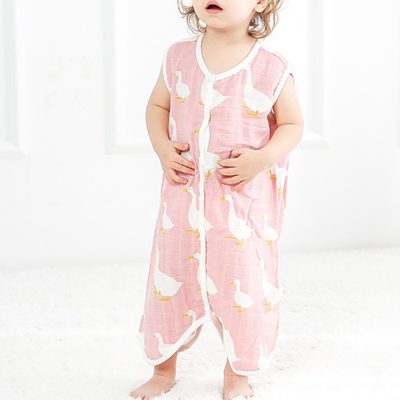 Baby Sleepsack Split Leg Toddler Onesies Cartoon Sleeveless Newborn Baby Summer Sack Sleeping Bag Gauze BMT034
