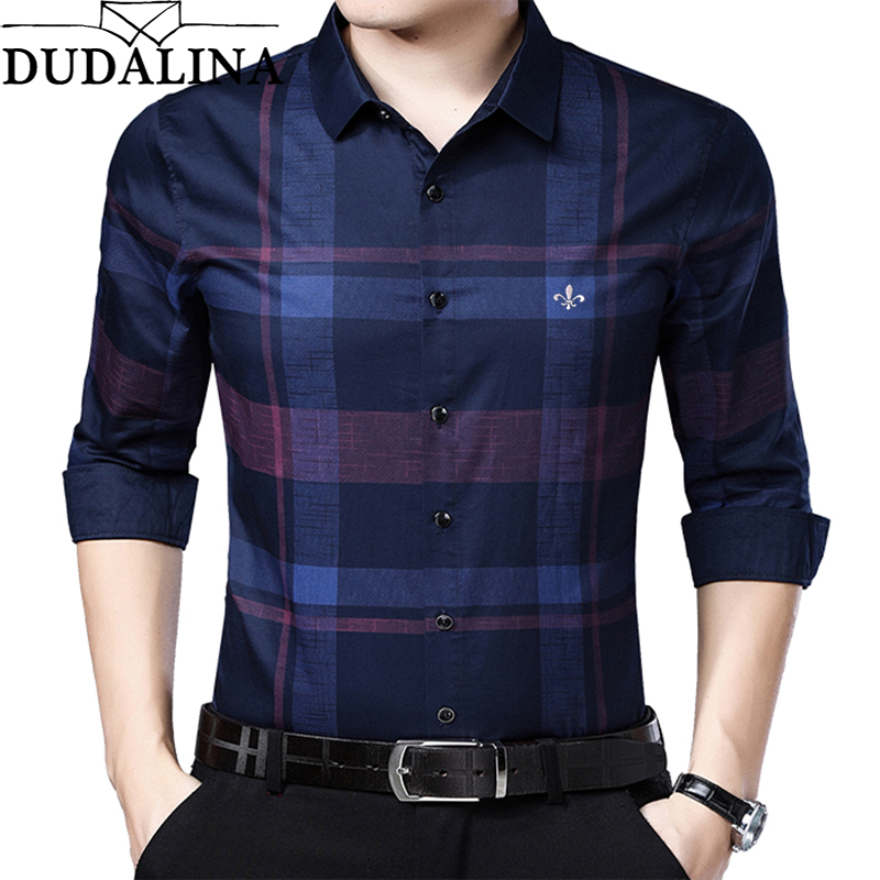 DUDALINA Me Shirt 2019 Men's Plaid Cotton Dress Shirts Male High Quality Long Sleeve Slim Fit Business Casual Shirt Camisa