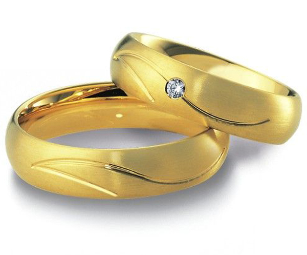 Beautiful Jewelry Yellow Gold Plating Stainless Steel Antique Engagement Promise Rings Sets Wedding Bands His And
