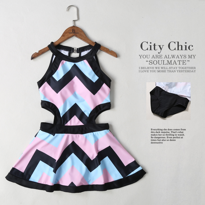 2017 summer new Black white Girl striped Skirt style one Piece swimsuit Sexy Halter Wave edge swimwear Slim women swimming suit 2017 summer new black white girl striped skirt style one piece swimsuit sexy halter wave edge swimwear slim women swimming suit