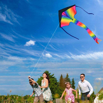 Cometa Delta arcoíris grande de 105 cm, juguetes para exteriores, diversión en...
