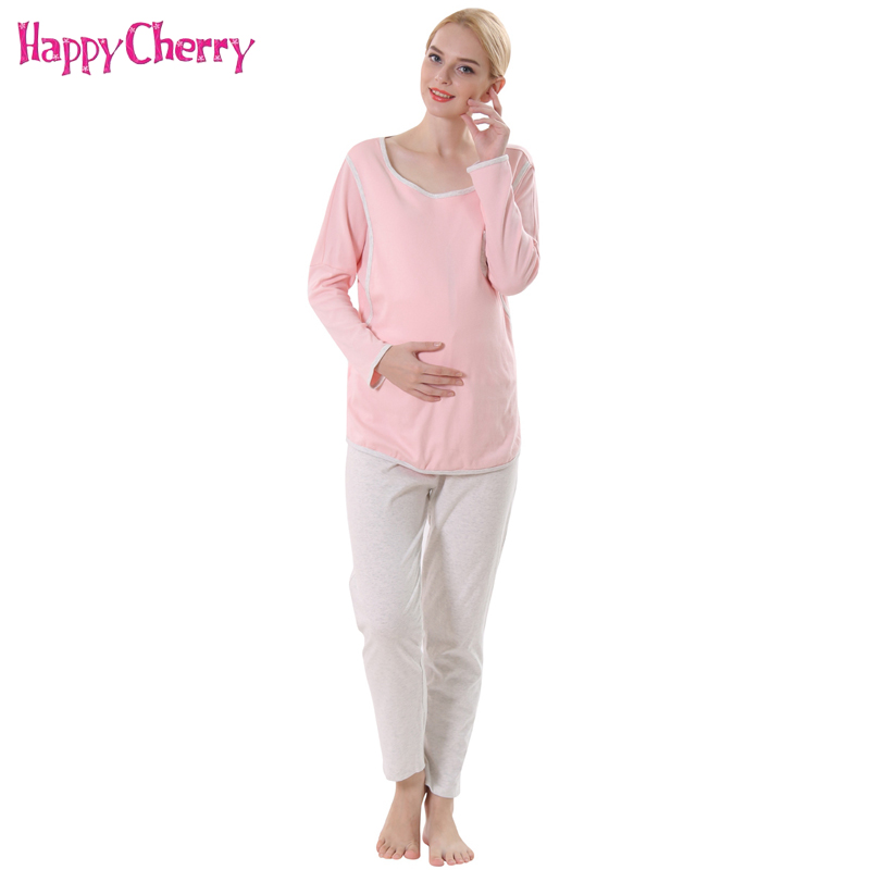Pregnancy Tops Pants Clothes Sets Pajamas for Pregnant Women Cotton Soft Breastfeeding Sleepwear Maternity Nursing Clothing Suit