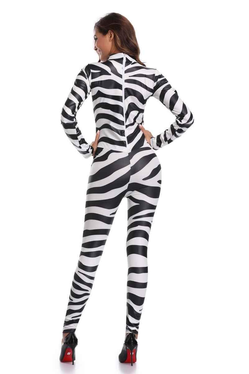 af463ee061 ... Sexy Halloween zebra Print Catsuit Party Fancy Dress Jumpsuit playsuit  SM1845