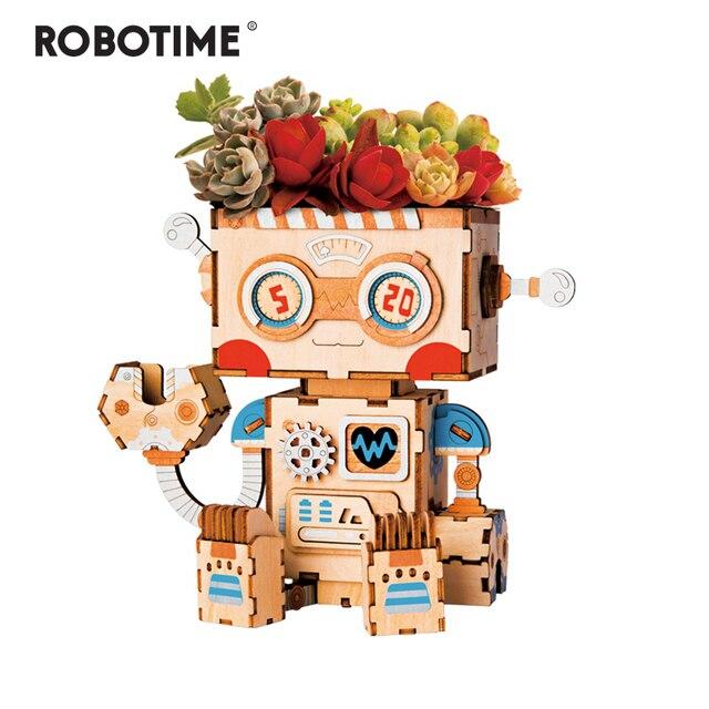 Robotime 3D Деревянный робот-головоломка, Креативный цветочный горшок, коробка для хранения, держатель для ручек, модели, строительные наборы, игрушки для детей, взрослых, FT761
