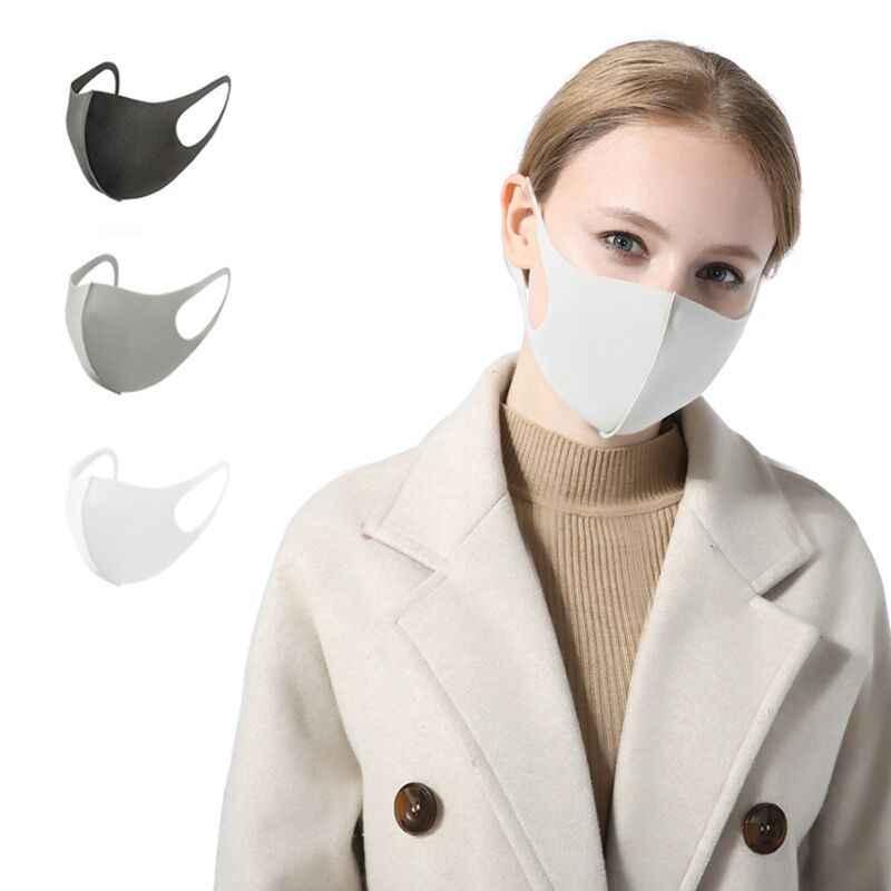 3 Pcs Boca Máscara Preta Kpop Unisex Respirável Esponja Rosto Máscara Reutilizável Anti Poluição Rosto Escudo À Prova de Vento Boca 3 em Um Saco