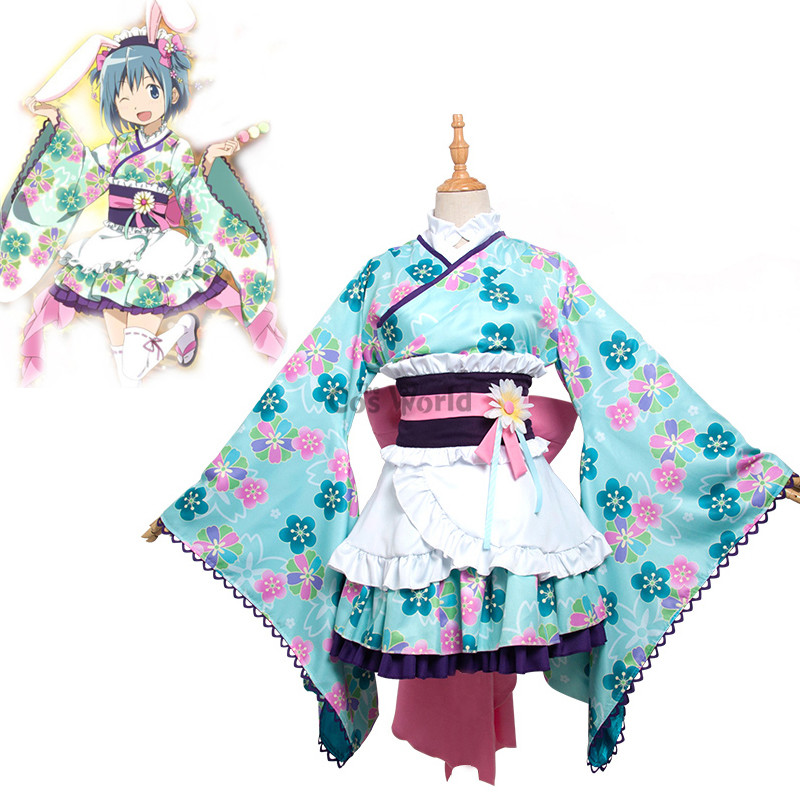 Puella Magi Madoka Magica Miki Sayaka Kimono Yukata Dress Uniform Outfit Anime Cosplay Costumes