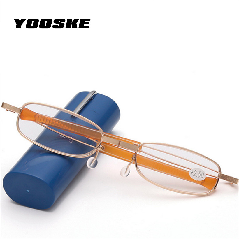 YOOSKE  Folding Reading Glasses Pencil Case Eyeglasses Women Men Hyperopia Pencil Vase Eyeglass Eyewear Box Spectacle Case
