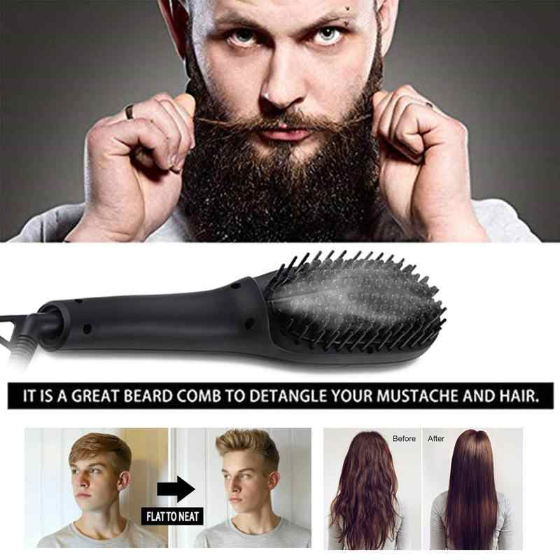 Beard straightener fast straightening comb negative ion brush for men beard comb scalp beard straightener comb