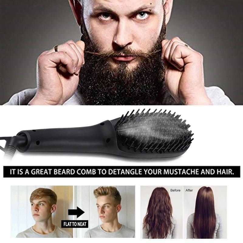 Lisseur barbe peigne lissant brosse rapide pour hommes ion négatif peigne barbe lisseur barbe escova de cabel