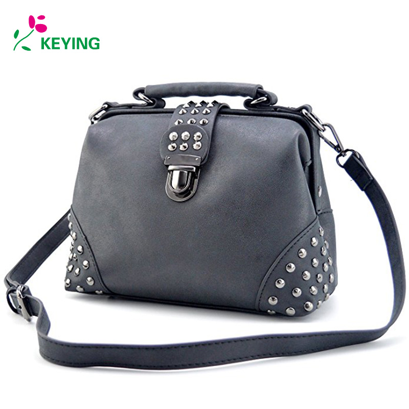 KEYING Gothic Rivet Studded Vintage Doctor Style Purse Shoulder Cross Body Bag Women Top Handle Handbag все цены