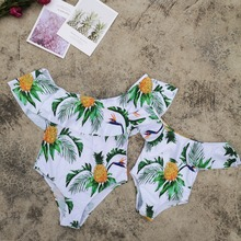Mommy and Me Swimsuits Flounce Mother Daughter Swimwear Family Matching Clothes Look Mom and Girl Dress Bikini Bathing Outfits family swimsuits mommy and me clothes mother daughter swimwear floral bathing suits mom girls matching outfits bikini dress look