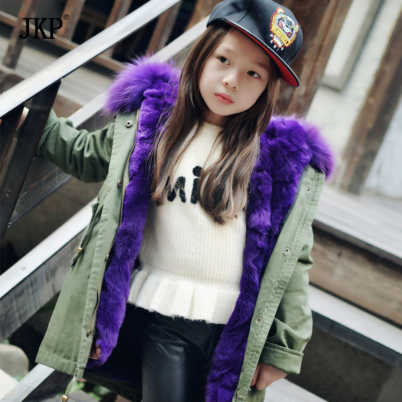 New winter warm children's fur coat really raccoon fur collar green Outerwear coat genuine rabbit fur  hooded Kids Jackets CT-24 new army green long raccoon fur collar coat women winter real fox fur liner hooded jacket women bomber parka female ladies fp890