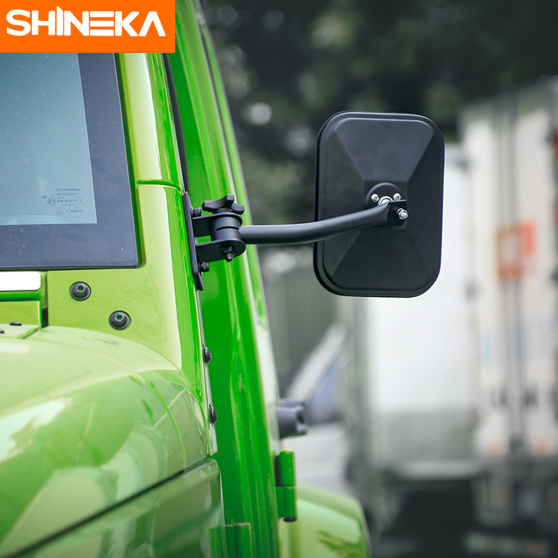 SHINEKA Rearview Exterior Mirror Side Door Adjustable Angle Lens Blind Spot Mirror For Jeep Wrangler TJ