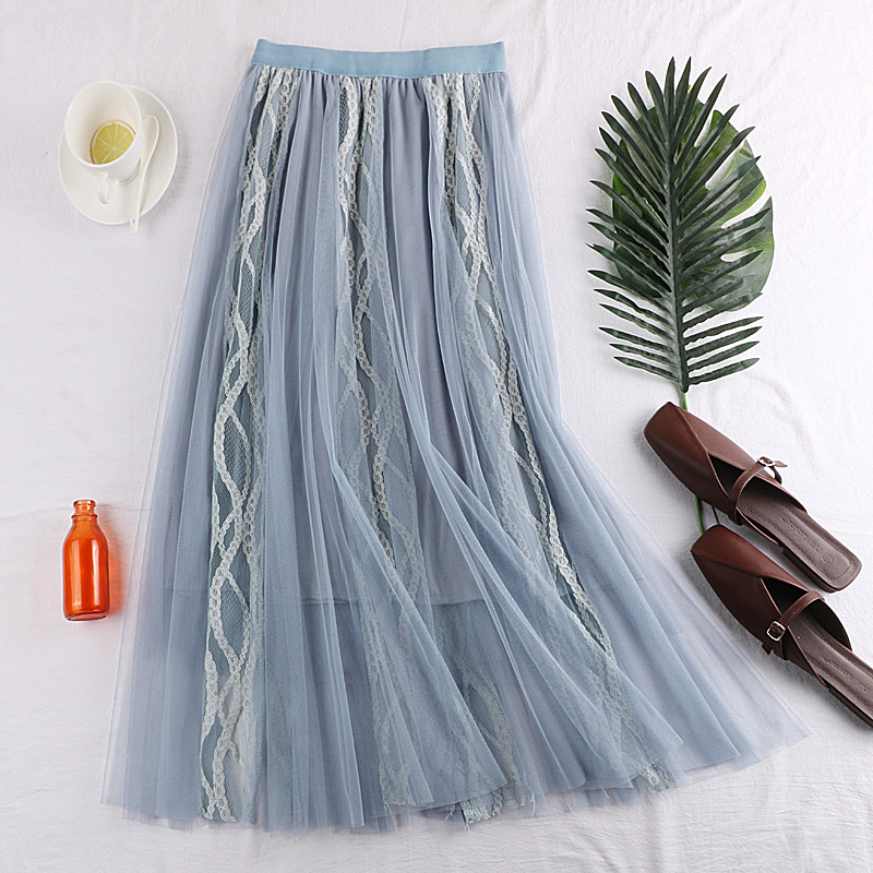 Faldas Mujer Moda 2019 New Summer Woman Tulle Skirts Sexy Lace Hollow Out Embroidered Mesh Skirt Vintage A Line Jupe Femme Saias