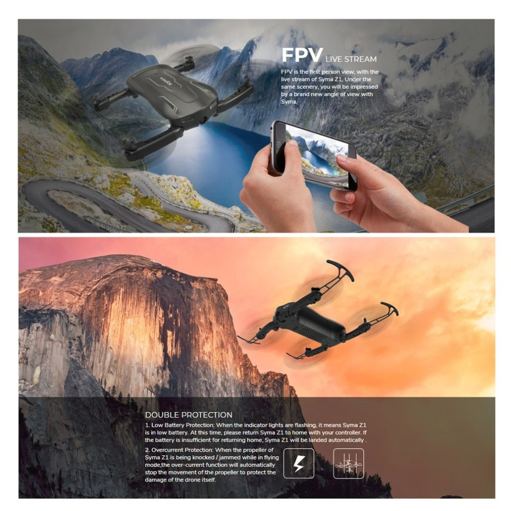 Syma Z1 2.4G FPV Foldable Drone Smart RC Quadcopter with 720P HD Wifi Camera Real-time Altitude Hold Optical Flow PositioningSyma Z1 2.4G FPV Foldable Drone Smart RC Quadcopter with 720P HD Wifi Camera Real-time Altitude Hold Optical Flow Positioning