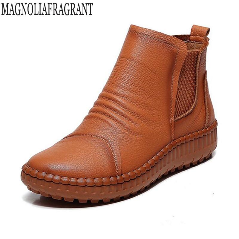 06ef2730b72 Zapatos de plataforma botas de tobillo de mujer de cuero genuino hecho a  mano botas de mujer primavera otoño zapatos de mujer calzado femenino k48