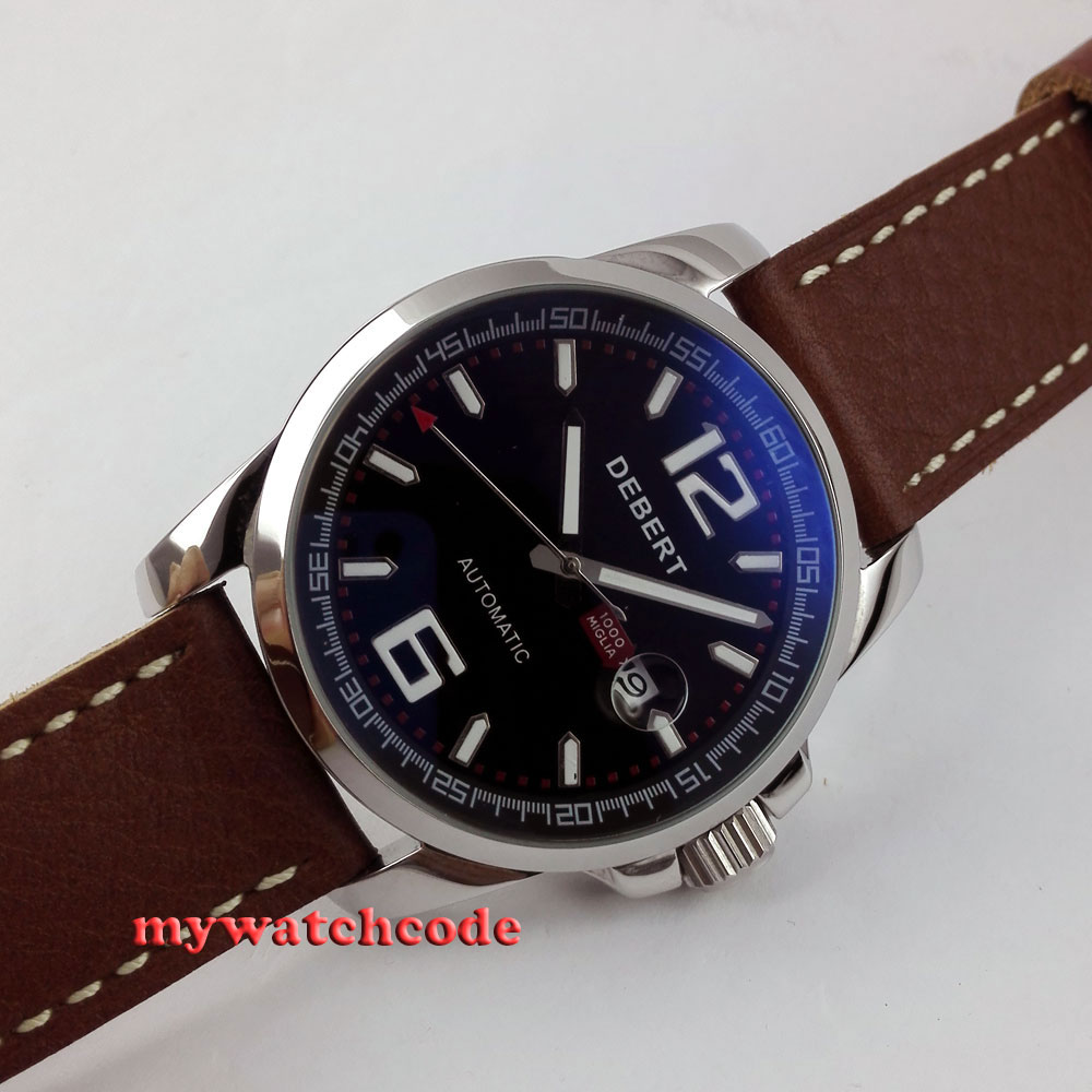 44mm Debert black dial date window automatic movement mens wrist watch D10 цена и фото