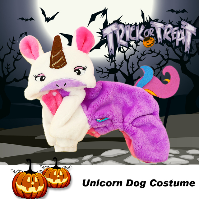 Cute Unicorn Halloween Dog Costume For Pet Dog Clothes Suit Winter
