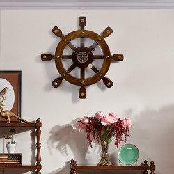 Morza śródziemnego zegar kreatywny dekoracji salonu Ship steru ścienne zegar dekoracyjny z litego drewna zegar kwarcowy