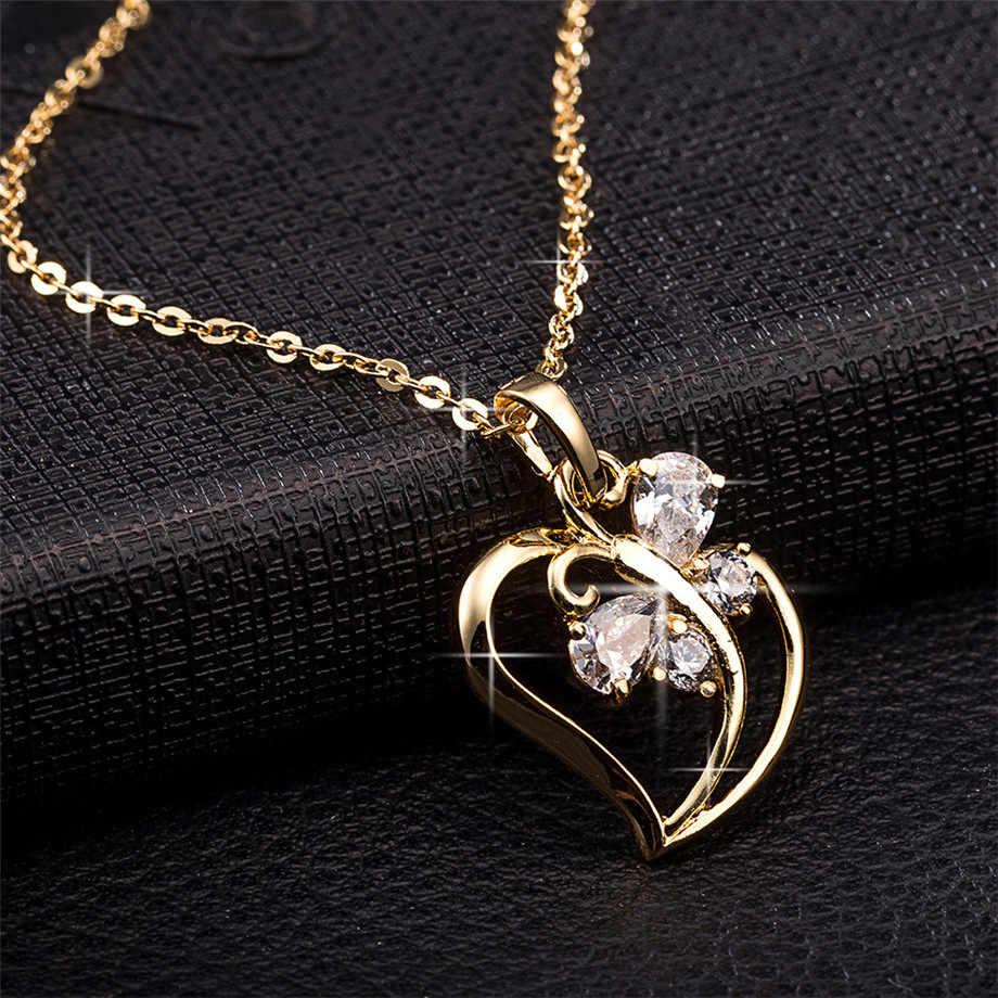 Colar de pingente de borboleta, colar de zircônia cúbica, pingente de coração, corrente de ouro para mulheres, joia da moda, femme 2020