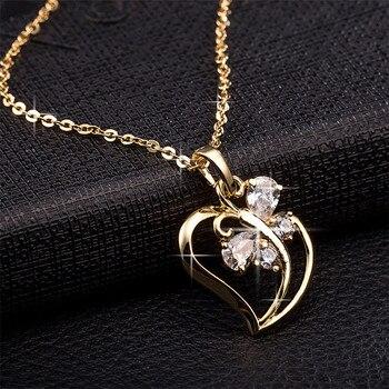Трендовое ожерелье с кубическим цирконием в виде бабочки и сердца, Женская цепочка золотого цвета на шею для женщин, ювелирное изделие, collier ...