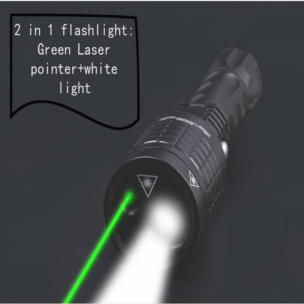 2 in 1 Laser flashlight :search Led light+Green Laser pointer 800 lumen Zoomable flashlight with Laser for tactical equipment