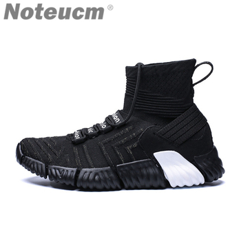 2018 Brand casual Elastic male Stretch speed mesh shoes print knit sock Sneakers men basket Trainers Kniting high top kanye west hockey sock
