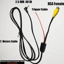 Yyzsdyjq rca a 2.5mm cabo av para câmera de visão traseira do carro estacionamento conversor cabo para carro dvr