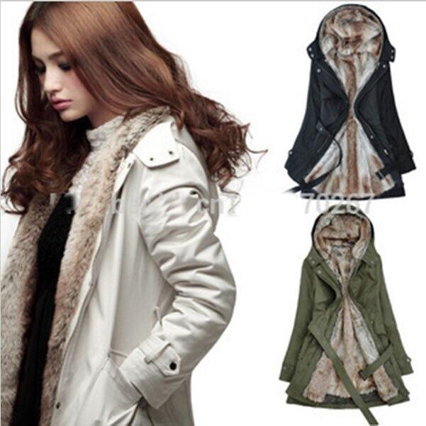 Warm Winter Coat Jacket Outerwear Faux Fur Lining Women's Fur ...