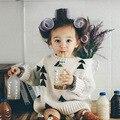 2017 Primavera Outono Nova Marca Choses Meninas Do Bebê Roupas Das Meninas do Menino Suéter Grosso Triângulo Do Vintage Blazer Crianças Traje