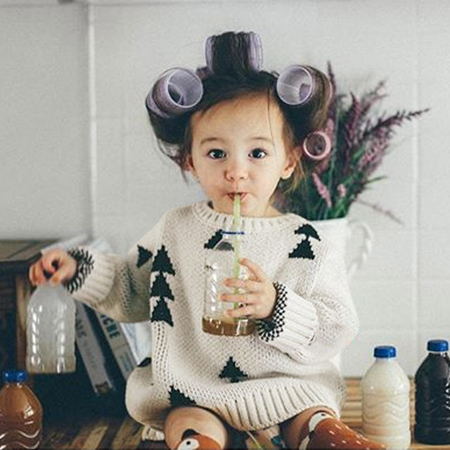 2017 Spring Autumn New Brand Boy Girls Sweater Thick Triangle Vintage Choses Baby Girls Clothes Jumper Kids Costume