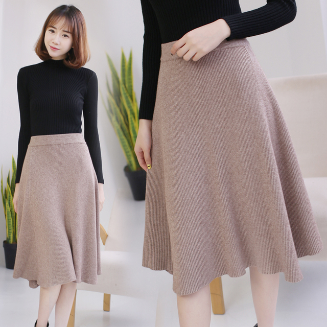 6f70706ab2 High Quality Midi Skirts Autumn Winter Casual Women Clothing High Waist  Pleated A Line Knee Length