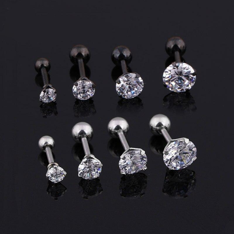 Medical titanium steel zircon earrings Size 3/4/5/6mm Star Crystal Cartilage Earring ear Piercing DIY Top Body Jewelry Women