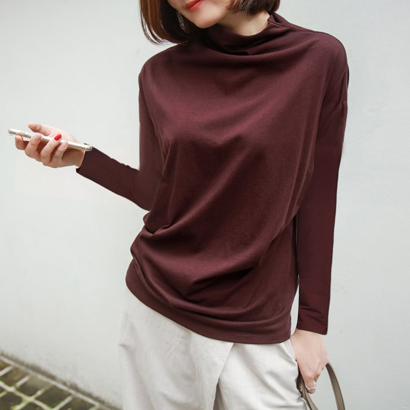 100 Cotton 2019 Summer Women Turtleneck T Shirts Solid Long Sleeved Loose