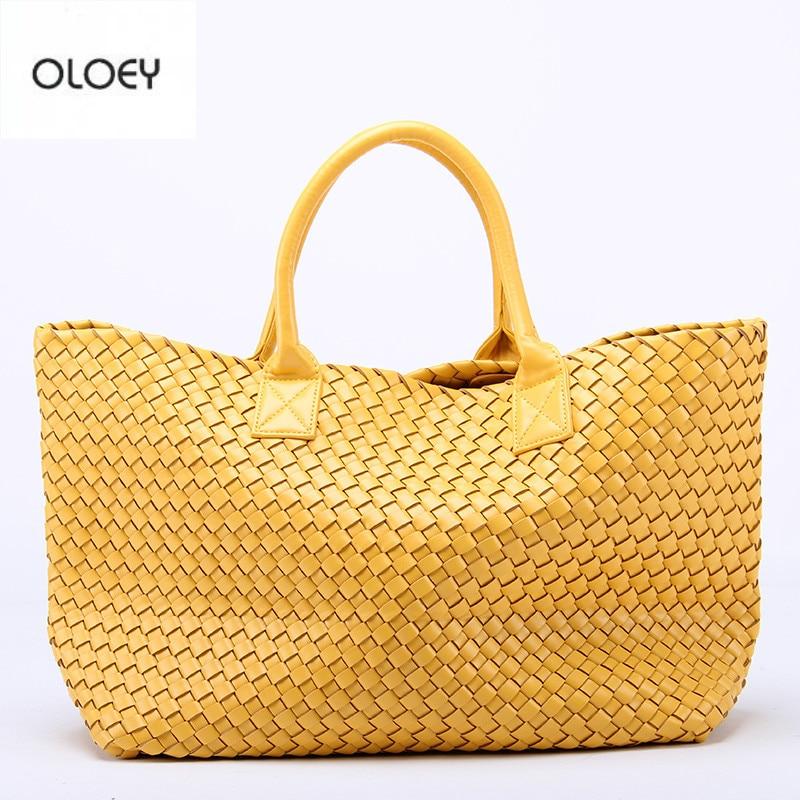 Новинка, плетеные сумки OLOEY из искусственной овечьей кожи, сумка на плечо со звездами, вместительная сумка-мешок, плетеная Сумка-тоут, женски...