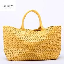 OLOEY New woven handbags imitation sheepskin star shoulder bag large capacity bucket bag woven tote bag  women leather handbags