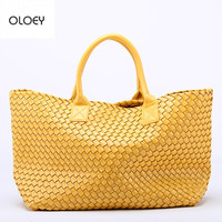 OLOEY New woven handbags imitation sheepskin star shoulder bag large capacity bucket bag woven tote bag women leather handbags
