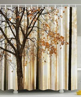 Shower Curtain Fall Trees Print Mom Gift Ideas Polyester Fabric Hooks Included Orange Ivory Brown Beige
