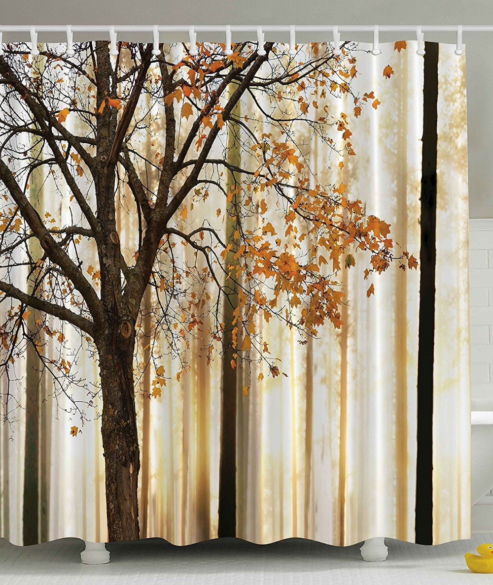 Shower Curtain Fall Trees Print Mom Gift Ideas Polyester Fabric Hooks Included, Orange Ivory Brown Beige