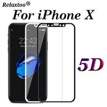 Protección de vidrio 5D para iphone x y iphone x, protector de pantalla para apple 10, protector templado glas 9 H, película protectora de cubierta completa