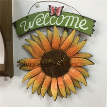 European pastoral creative sun flower wrought iron three-dimensional wall hangings,welcome big listing,garden villa welcome card