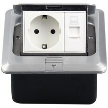 switch box with cover plate hide Pop-up Computer European standard floor socket Aluminium alloy network German UK Ground socket