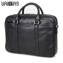 Saco do portátil bolsa para laptop de couro de 15.6 polegada moda homens bolsa do couro genuíno de grande capacidade bolsa de ombro laptop de couro real