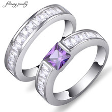 New Luxury Silver Color Rings 2 pieces Ring Sets Princess Cut Cubic Zirconia Ring purple Austrian crystal Jewelry for Women(China)
